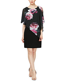 SL Fashions Embellished Floral-Overlay Sheath Dress