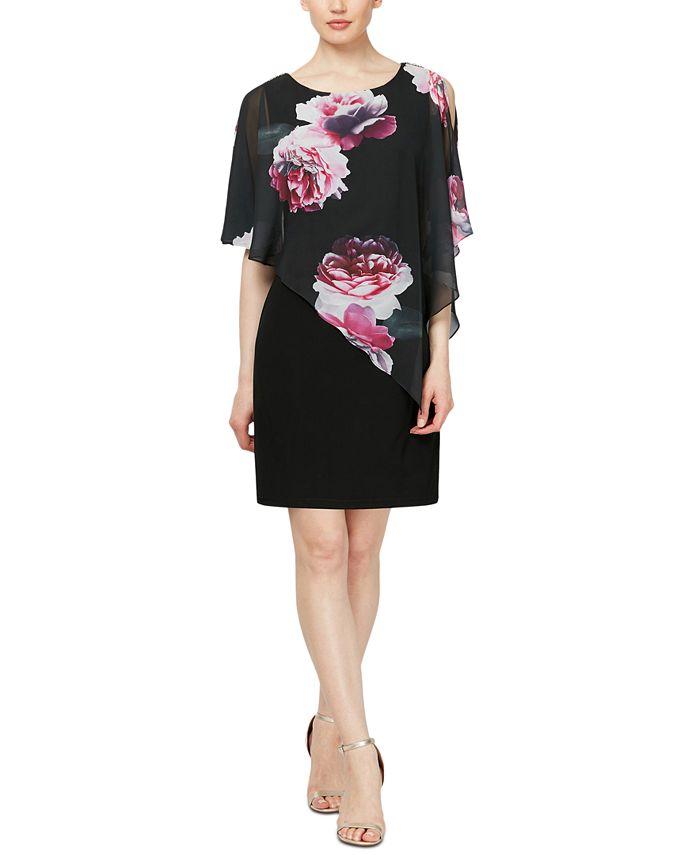 SL Fashions - Embellished Floral-Overlay Sheath Dress