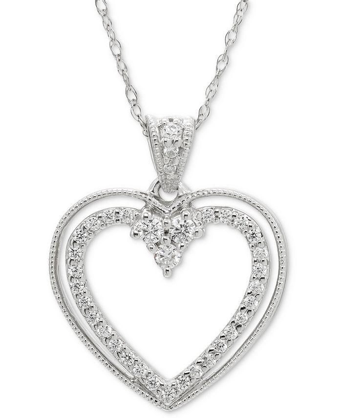 Macy's - Diamond Open Heart Pendant Necklace (1/5 ct. t.w.) in 14k White Gold