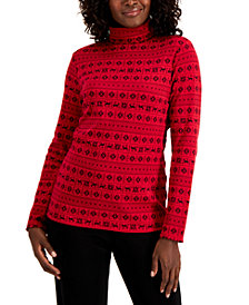 Karen Scott Fair Isle-Print Turtleneck, Created for Macy's