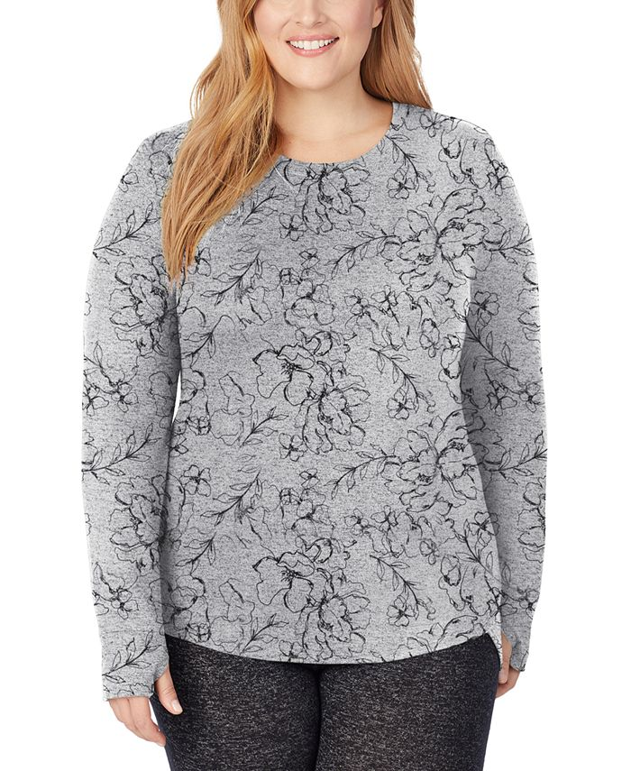 Cuddl Duds - Plus Size Soft Knit Long-Sleeve Crewneck Top