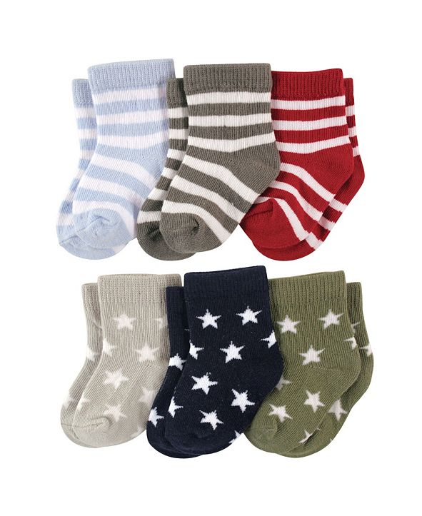 Luvable Friends Baby Boys and Girls Star Stripes Socks Set, Pack of 6