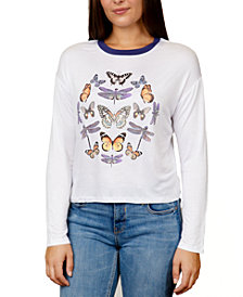 Rebellious One Juniors' Butterfly Graphic Ringer T-Shirt