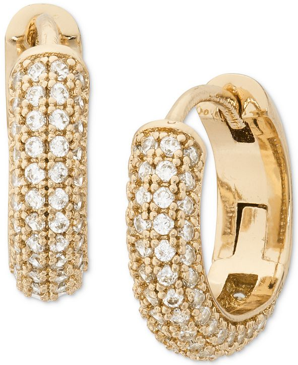 kate spade new york Gold-Tone Small Pavé Huggie Hoop Earrings, 0.62""