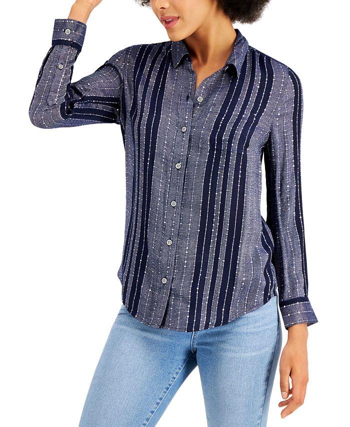 Style & Co - Petite Sparkle Striped Shirt