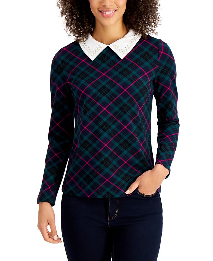 Charter Club - Petite Plaid Embellished-Collar Top