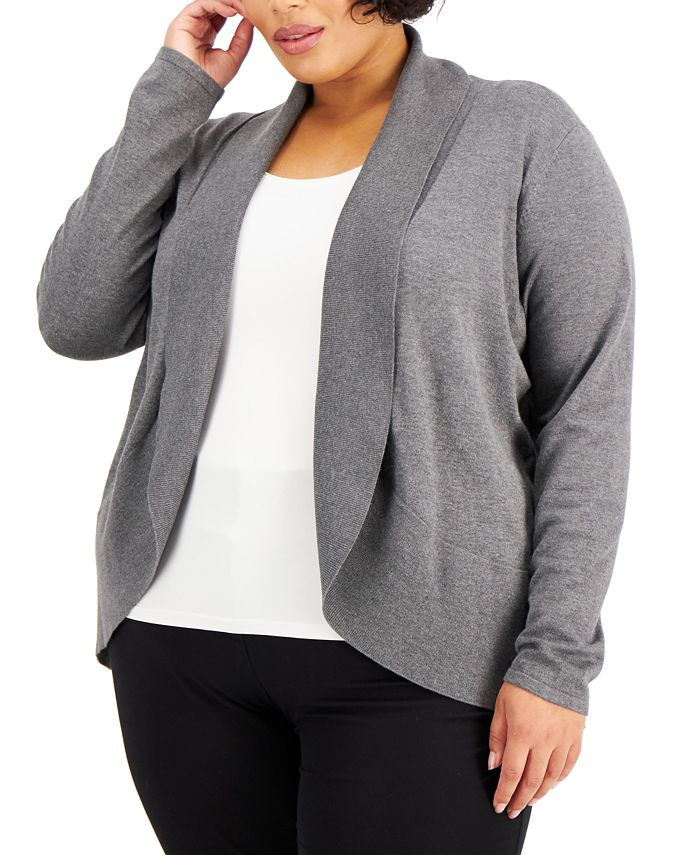 Karen Scott - Plus Size Curved Shawl-Collar Cardigan
