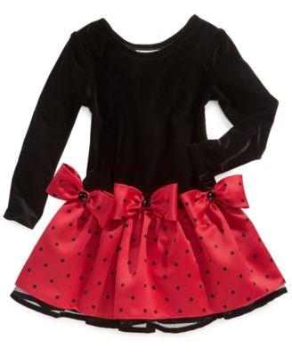 Bonnie Jean Girls Dress, Little Girls Polka-Dot Holiday Dress ...