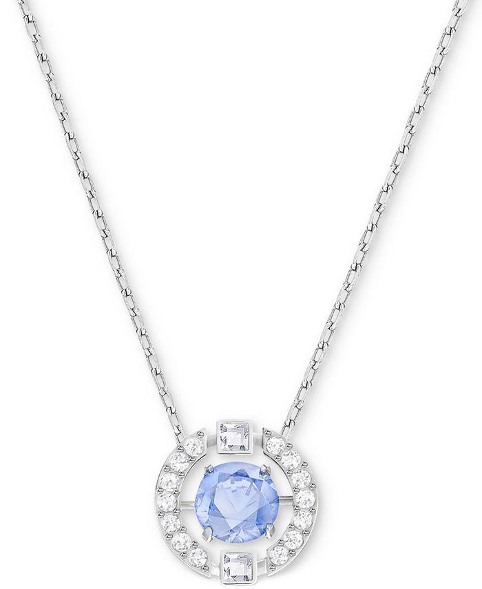"Swarovski - Silver-Tone Dancing Crystal Pendant Necklace, 14-7/8"" + 2"" extender"