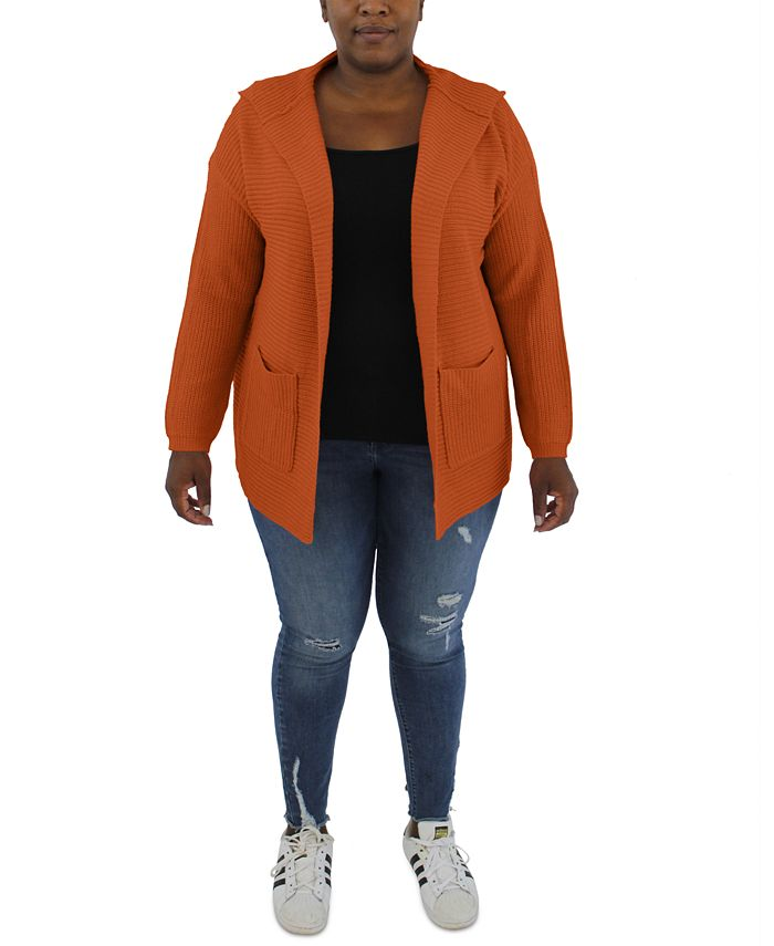 FULL CIRCLE TRENDS - Trendy Plus Size Hooded Sweater