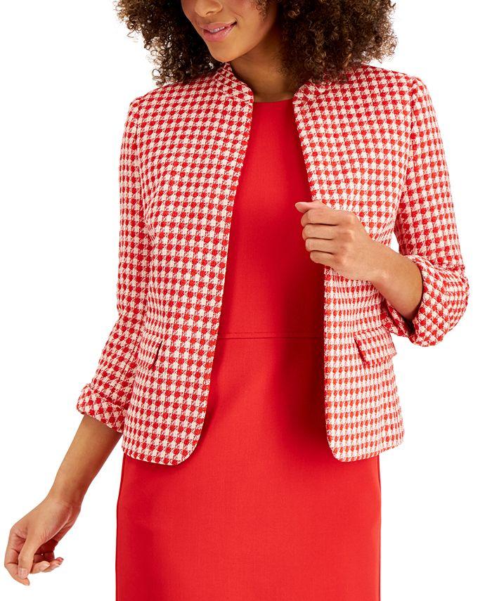 Anne Klein - Tweed Houndstooth Open-Front Jacket