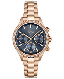 BOSS Women's Hera Rose Gold-Tone Stainless Steel Bracelet Watch 38mm