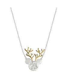 "Disney Two-Tone Mickey Mouse ""Joy"" Reindeer Pendant Necklace in Fine Silver Plate"