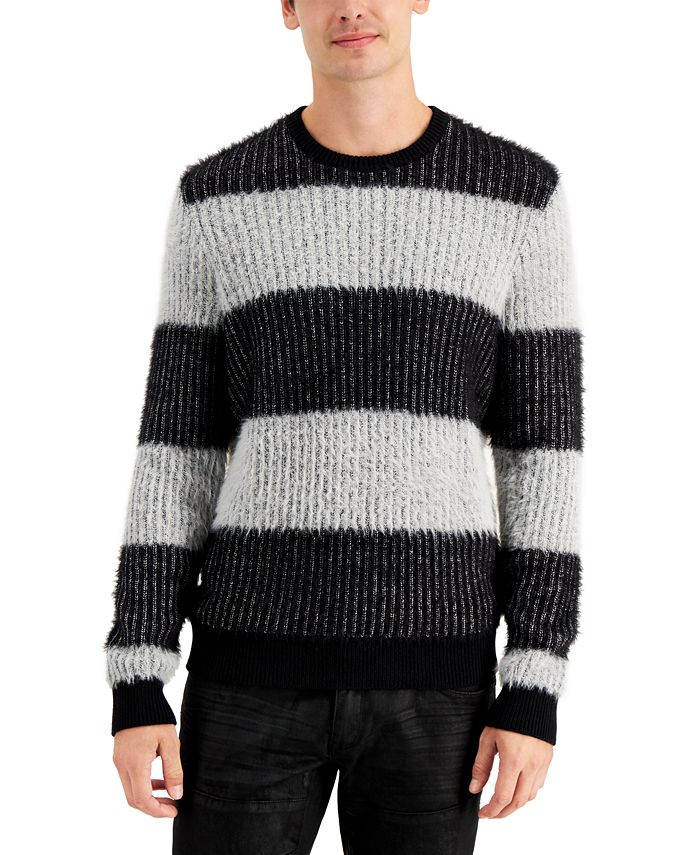 INC International Concepts - Men's Fuzzy Striped Sweater