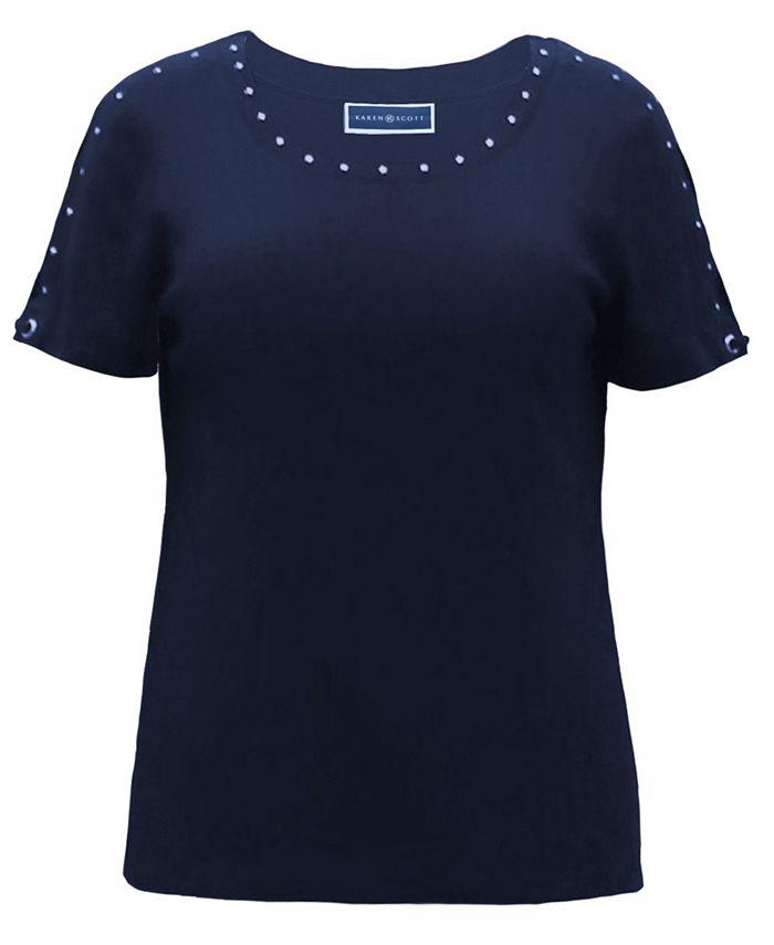 Karen Scott - Cotton Studded T-Shirt