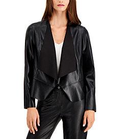 Anne Klein Plus Size Vegan Leather Drape-Front Jacket