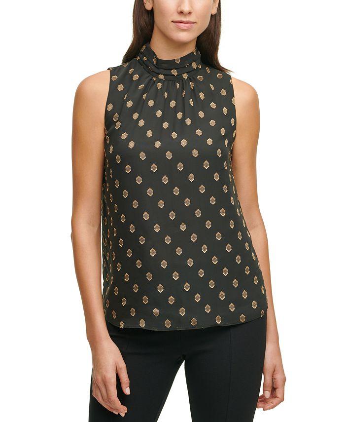 Calvin Klein - Printed Mock-Neck Sleeveless Top