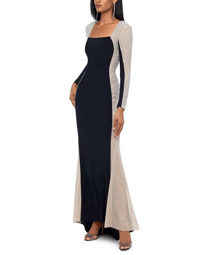 XSCAPE - Embellished Colorblocked Gown