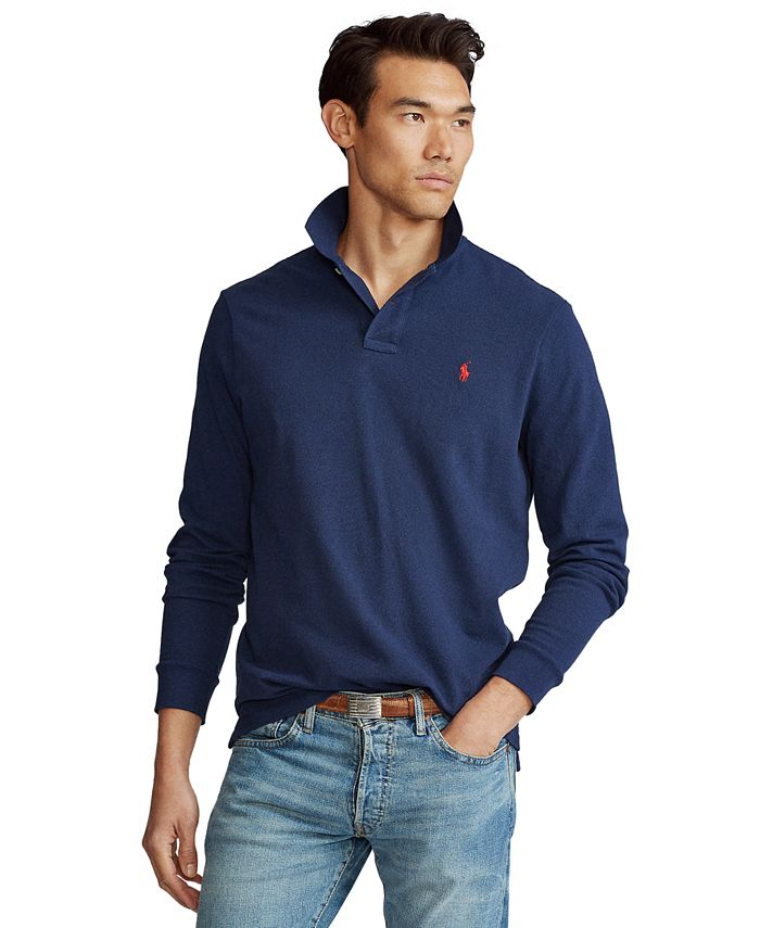 Men's Big & Tall Mesh Long-Sleeve Polo Shirt