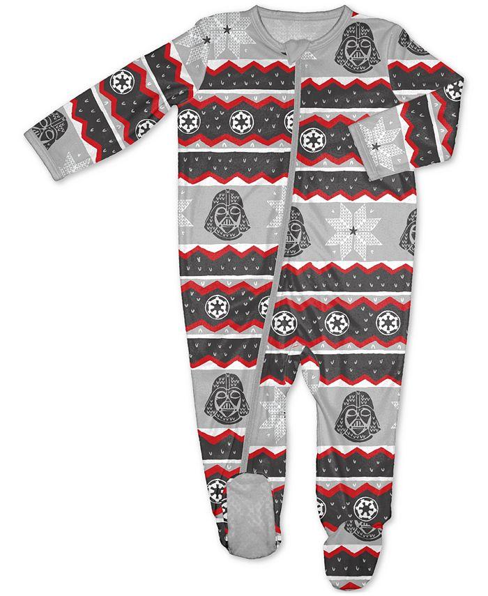 Munki Munki - Munki Munki Baby 1-Pc. Darth Vader Fairisle Printed Footed Pajamas
