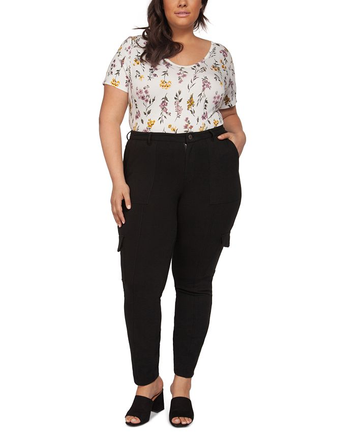 Black Tape - Plus Size Skinny Knit Cargo Pants With Front Seam