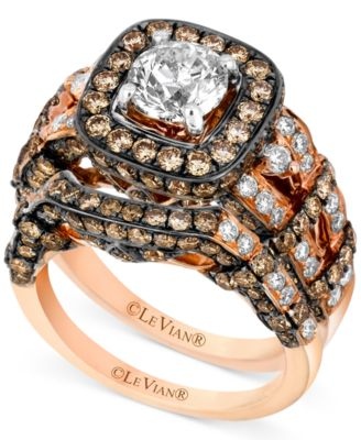 Le Vian Ring Set White Diamond 1 3 8 ct t w and Chocolate
