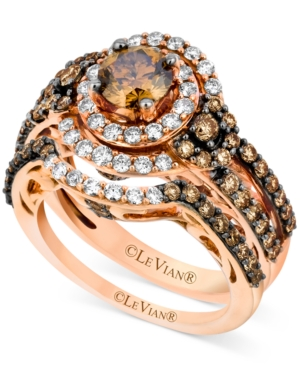 Le Vian 14k Rose Gold Bridal Set, Chocolate Diamond (1-3/4 ct. t.w.) and White Diamond (1/2 ct. t.w.) Ring Set