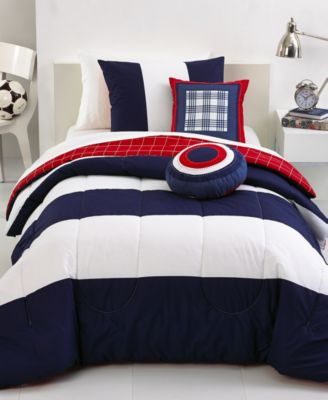 rugby stripe 4 piece twin comforter set - bed in a bag - bed