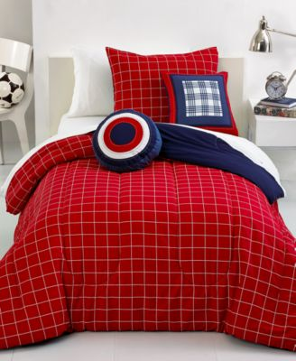 rugby stripe 5 piece queen comforter set - bed in a bag - bed