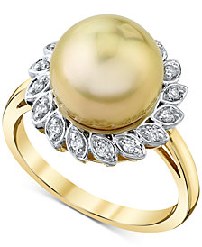 Cultured Golden South Sea Pearl (10mm) & Diamond (1/8 ct. t.w.) Ring in 10k Gold
