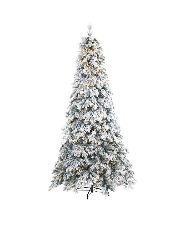 Nearly Natural Flocked Vermont Mixed Pine Artificial Christmas Tree with 600 LED Lights