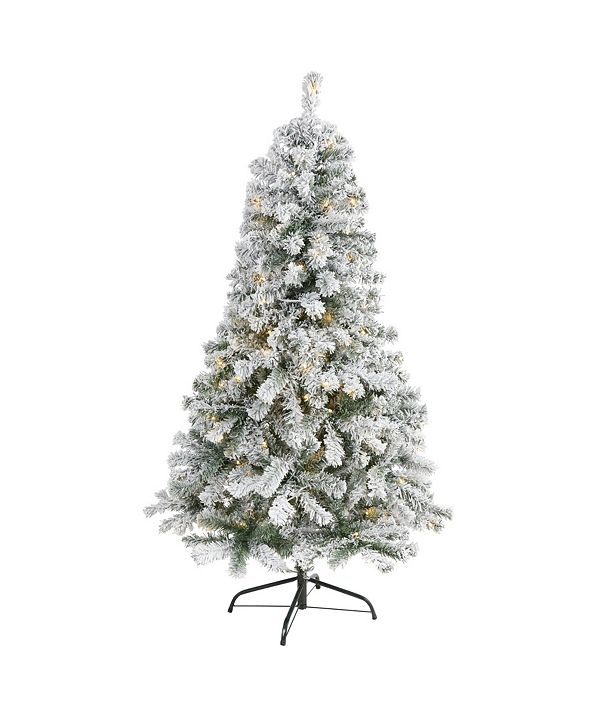 Nearly Natural Flocked Rock Springs Spruce Artificial Christmas Tree with 150 Clear LED Lights
