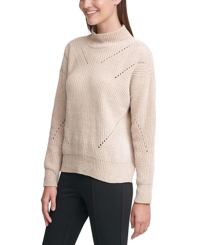 Calvin Klein - Chenille Mock-Neck Pointelle Sweater