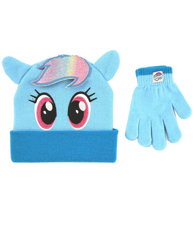 ABG Accessories Toddler Girls My Little Pony 2 Piece Knit Cuff Hat and Matching Mittens Set