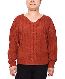 Derek Heart Trendy Plus Size Lace-Up Mixed-Stitch Sweater