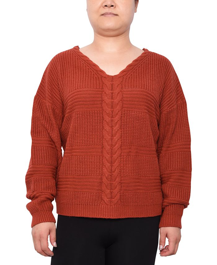 Derek Heart - Trendy Plus Size Lace-Up Mixed-Stitch Sweater