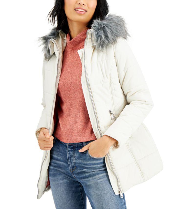 Maralyn & Me Juniors' Faux-Fur-Trim Hooded Puffer Coat & Reviews - Coats - Women - Macy's