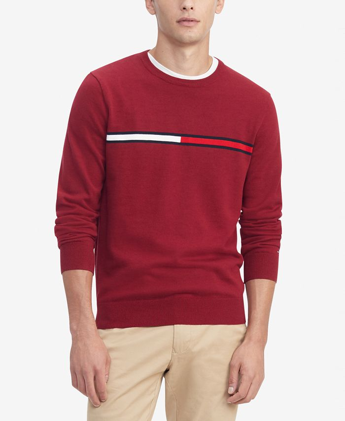Tommy Hilfiger - Men's Logo Crewneck Cotton Sweater