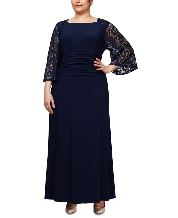 SL Fashions - Plus Size Bell-Sleeve Gown