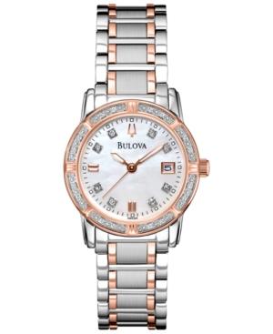 Bulova Women's Diamond Accent Two-Tone Stainless Steel Bracelet Watch 26mm 98R199 - A Macy's Exclusive