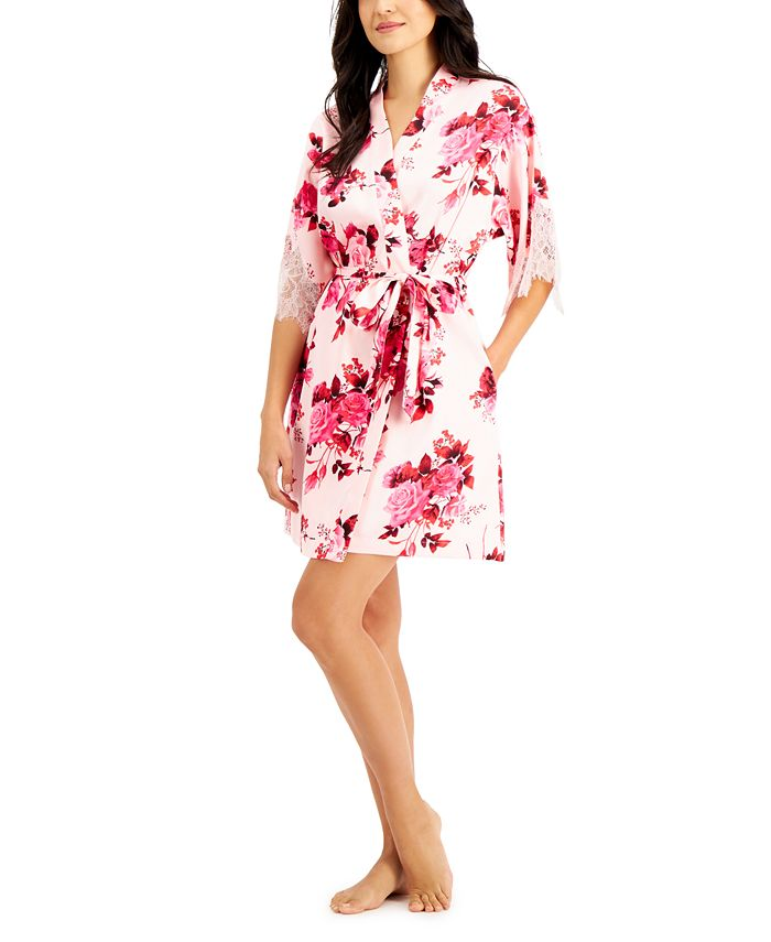 INC International Concepts - Lace-Trim Floral-Print Wrap Robe