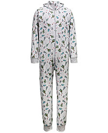 Matching Men's Festive Trees Hooded Onesie Family Pajamas, Created for Macy's