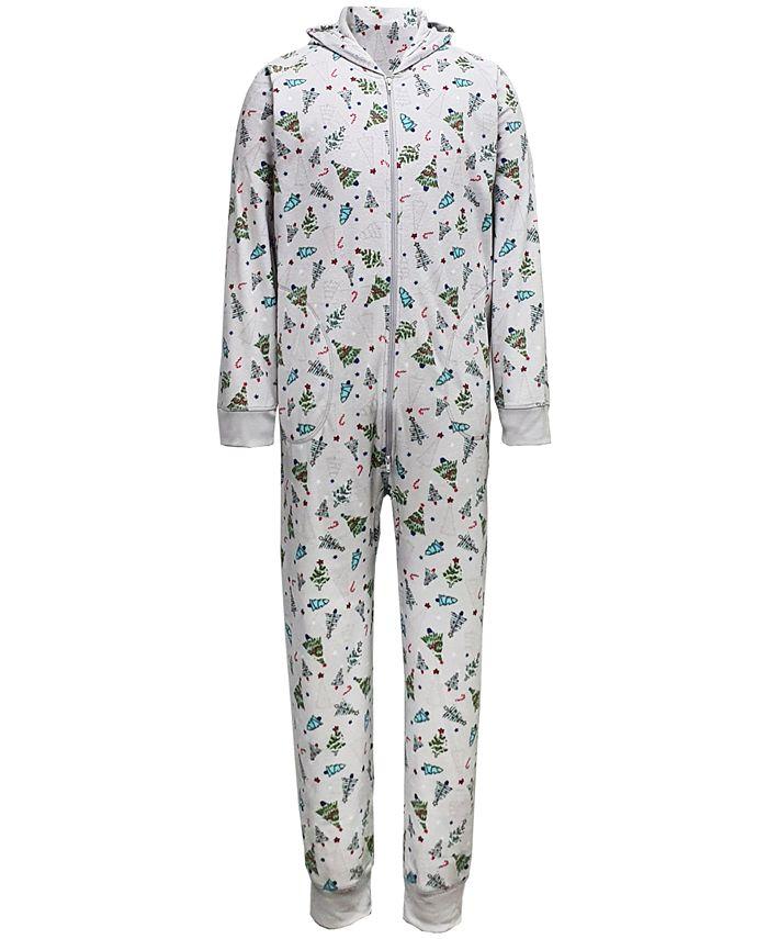 Family Pajamas - Men's Tree-Print Hooded 1-Pc. Pajamas