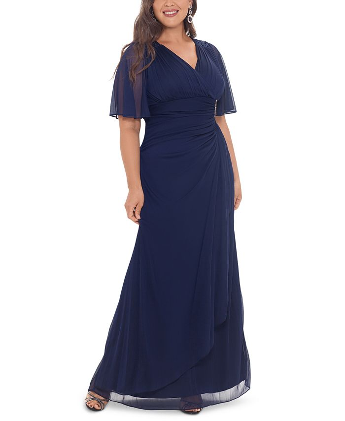 Betsy & Adam - Plus Size Embellished Flutter-Sleeve Gown