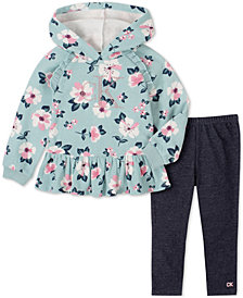 Calvin Klein Jeans Baby Girls 2-Pc. Floral Fleece Hoodie & Denim Leggings Set