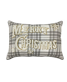 "Merry Christmas Plaid 14"" x 20"" Decorative Pillow, Created For Macy's"