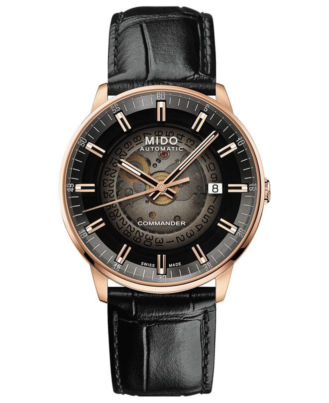 Mido Men's Swiss Automatic Commander Gradient Black Leather Strap Watch 40mm