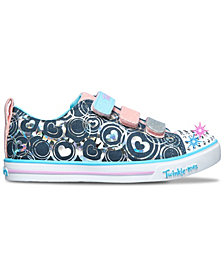 Skechers Little Girls Twinkle Toes Twinkle Lite - Hearts Stay-Put Closure Casual Sneakers from Finish Line