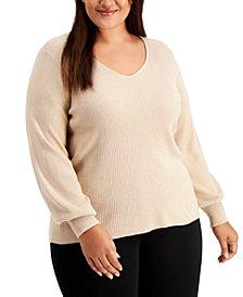 Calvin Klein Plus Size Balloon-Sleeve Sweater
