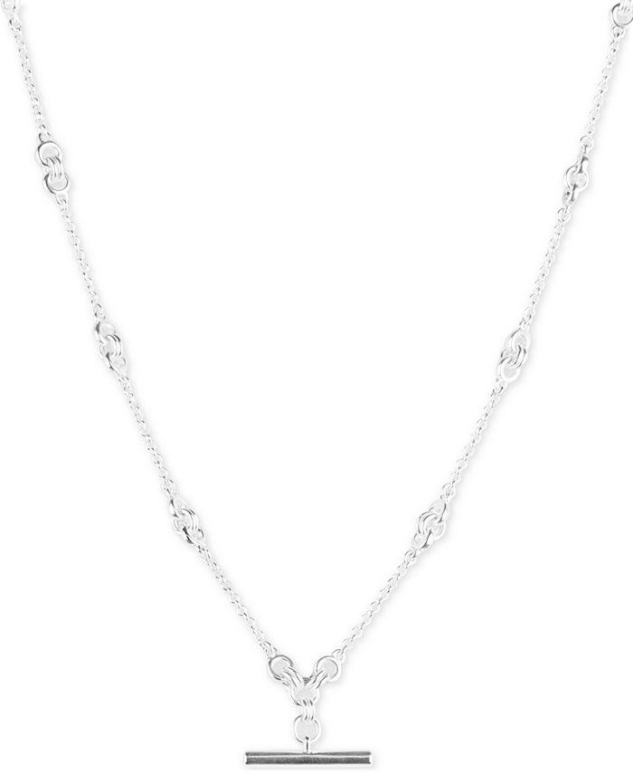 """Lucky Brand - Silver-Tone Bar Pendant Necklace, 16"""" + 3"""" extender"""